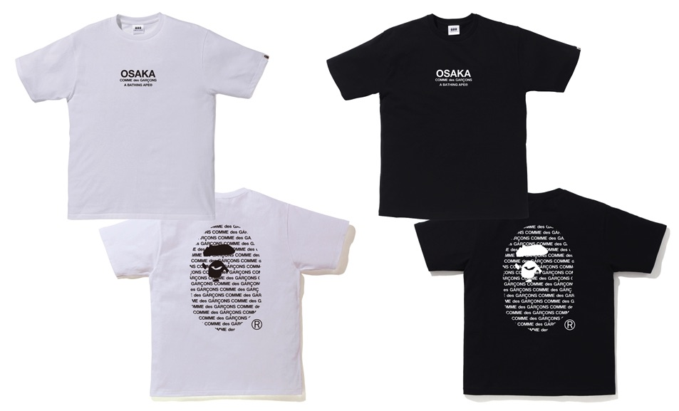 A BATHING APE × COMME des GARCONS Tee Black White Osaka Release